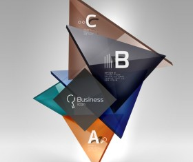 Colorful glass triangles business template vectors 09