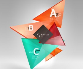 Colorful glass triangles business template vectors 10