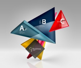 Colorful glass triangles business template vectors 11