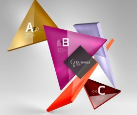 Colorful glass triangles business template vectors 12