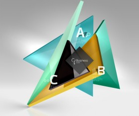 Colorful glass triangles business template vectors 13