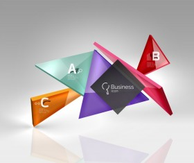 Colorful glass triangles business template vectors 14
