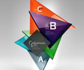 Colorful glass triangles business template vectors 15