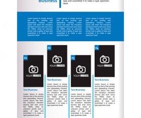Company brochure cover blue styles vector 07