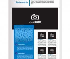 Company brochure cover blue styles vector 11