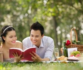 Couple reading Stock Photo