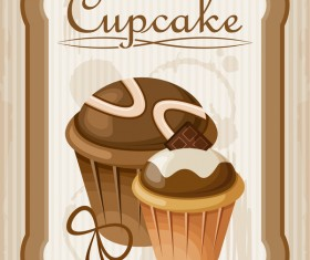 Cupcake poster retro design vectors 01