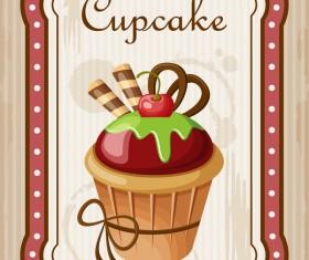Cupcake poster retro design vectors 02
