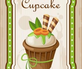 Cupcake poster retro design vectors 03