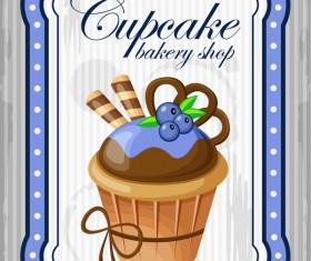 Cupcake poster retro design vectors 04
