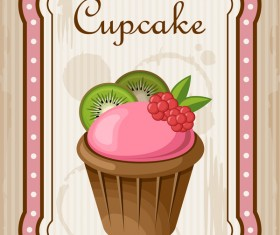Cupcake poster retro design vectors 05