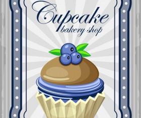 Cupcake poster retro design vectors 06