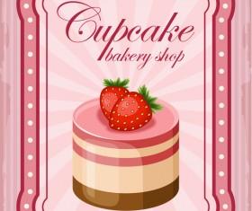 Cupcake poster retro design vectors 07