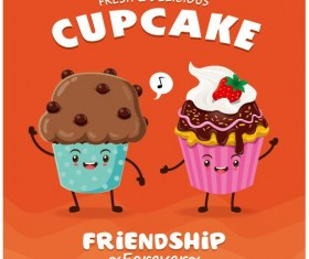 Cute cupcake character cartoon poster vecotr 01