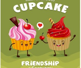 Cute cupcake character cartoon poster vecotr 02