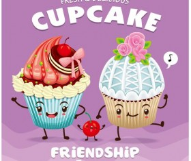Cute cupcake character cartoon poster vecotr 03