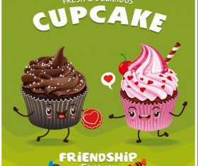Cute cupcake character cartoon poster vecotr 04