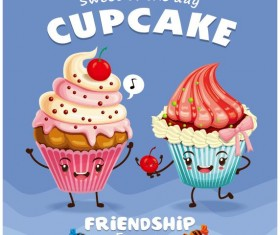 Cute cupcake character cartoon poster vecotr 05