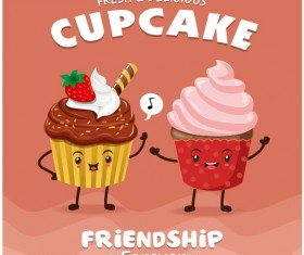 Cute cupcake character cartoon poster vecotr 06