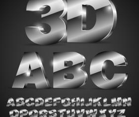 Dark 3D font gradient vector material