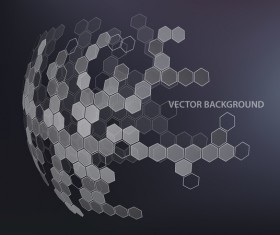 Dark background with hexagonal spherical vector