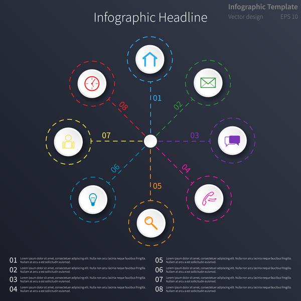Dark blue infographic template vectors design 02
