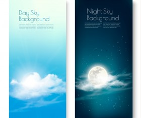 Day and nigh sky backgrounds with sun and moon vector 01
