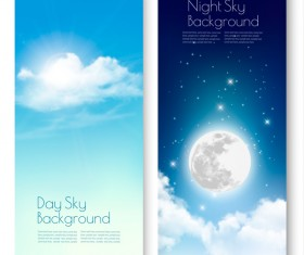 Day and nigh sky backgrounds with sun and moon vector 02