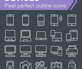 Devices outline icons set