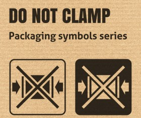 Do not clamp packaging icons series vector