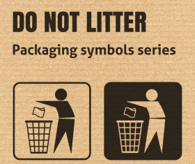 Do not litter packaging icons series vector