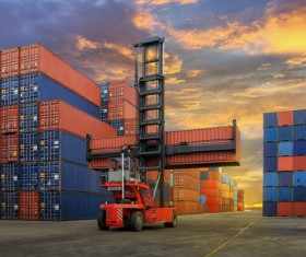 Dock loading forklifts Stock Photo
