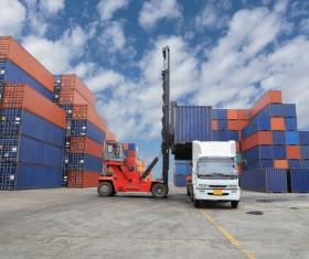 Dock loading trucks and trucks Stock Photo 01