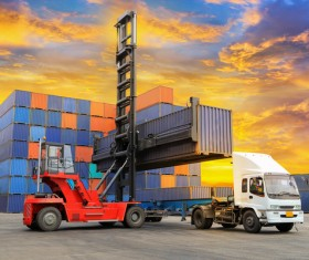 Dock loading trucks and trucks Stock Photo 02