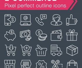 ECommerce outline icons set