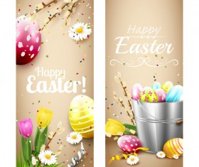 Easter brown vertical banners vector