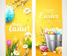 Easter orange vertical banners vector