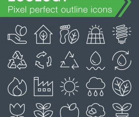Ecology outline icons set