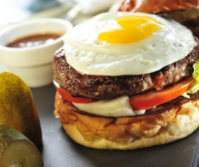 Egg Beef Burger Stock Photo