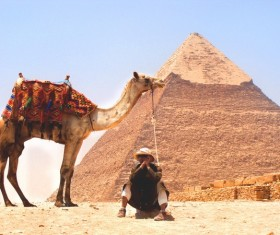 Egypt travel, pyramids and tour guides Stock Photo