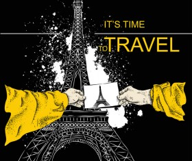 Eiffel tower with travel template vector 02