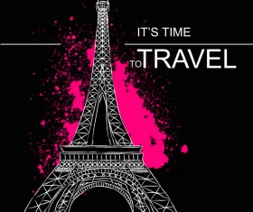 Eiffel tower with travel template vector 03