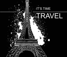 Eiffel tower with travel template vector 04