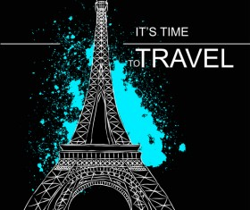 Eiffel tower with travel template vector 06