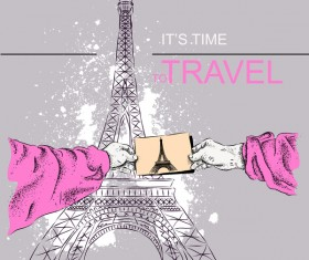Eiffel tower with travel template vector 07