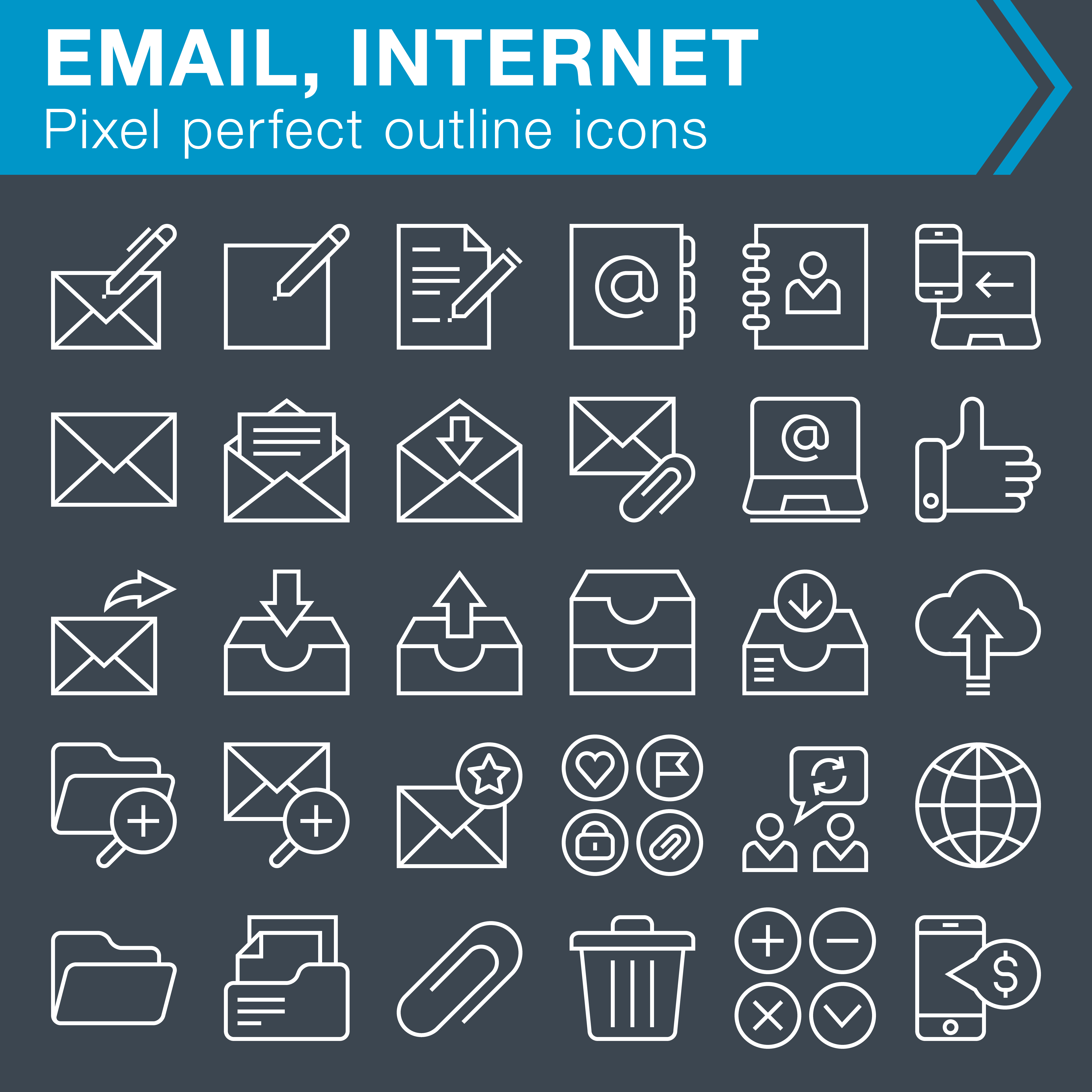 Email with internet outline icons set