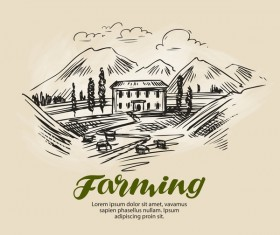 Farming hand drawing background vectors 04