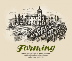 Farming hand drawing background vectors 07