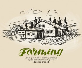 Farming hand drawing background vectors 11