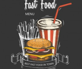 Fast food hamburger black menu cover vector